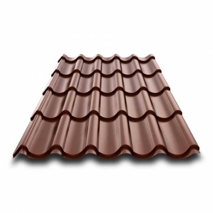 металлочерепица 8017 коричневая (молочный шоколад) глянцевая
