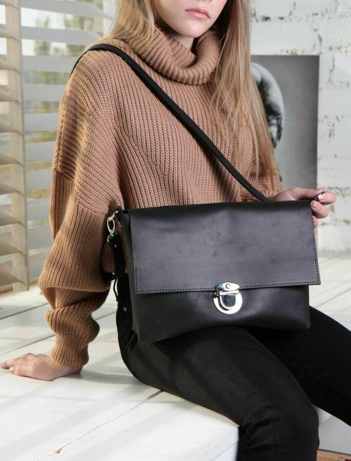 Стильная женская сумка - портфель (кожа, крейзи хорс)