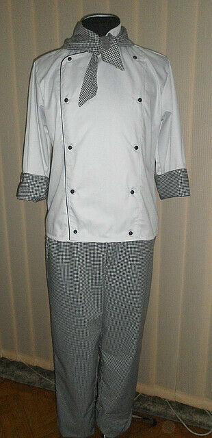 Костюм повара с косынкой, поварская униформа