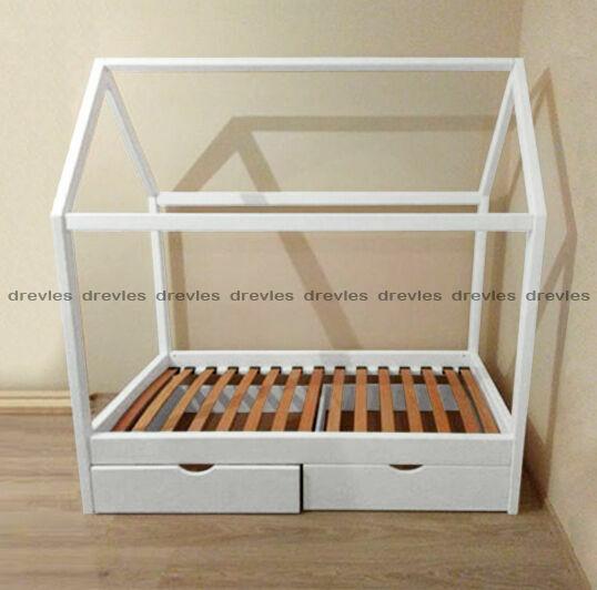 Детская кроватка домик с ящиками без ограждений