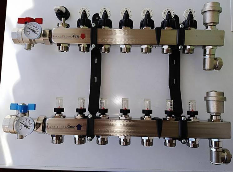 Коллектор теплого пола IVR, нержавейка, 6, 7, 9 контуров