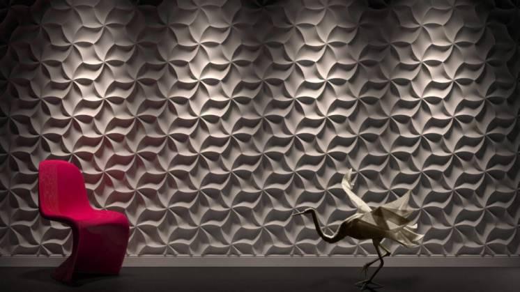 3д панели Оригами.  Гипсовые 3D панели Оригами ЭкоЛидер.