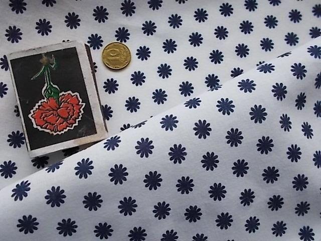 Ткань хлопок белый с рисунком синие звездочки. For Hand Made, поделок,