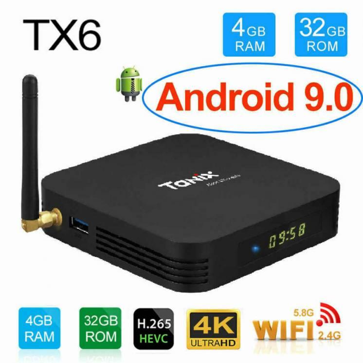 Tanix Tx6 смарт тв приставка 4/32 - Android 9 - Iptv Wi-fi - настройка