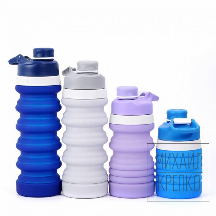 Силиконовая складная фитнес эко бутылка для воды 550мл спортивная зал