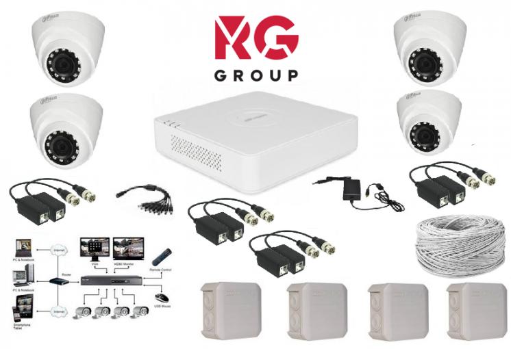 Комплект видеонаблюдения Dahua на 4 камеры внутренние 1MP ОПТ и РОЗ