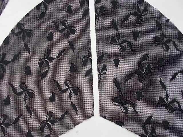 Ткань кружево черное жесткое с узором  6 кусков, для рукоделия