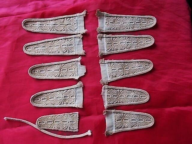 Декоры льняные с вышивкой, отделкой сутажом, набор 10 штук