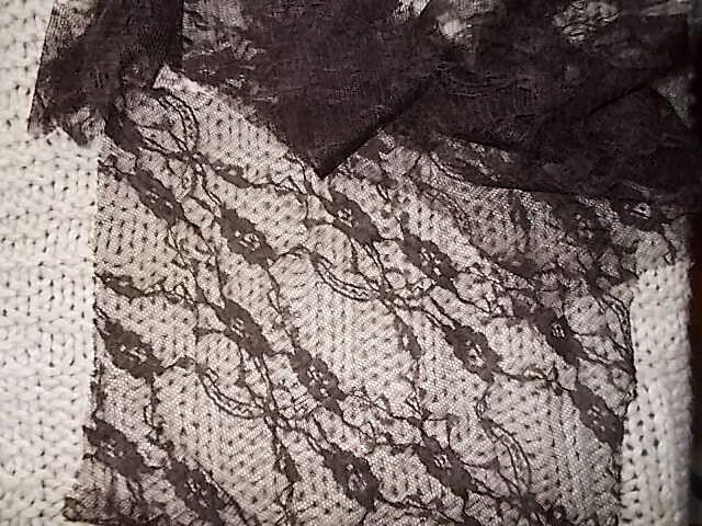 Ткань кружевная на тюле темно-корич.5 кусков. For Hand Made, рукодели