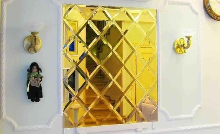 Зеркальная плитка золотая. фасет плитка состаренная. плитка зеркало