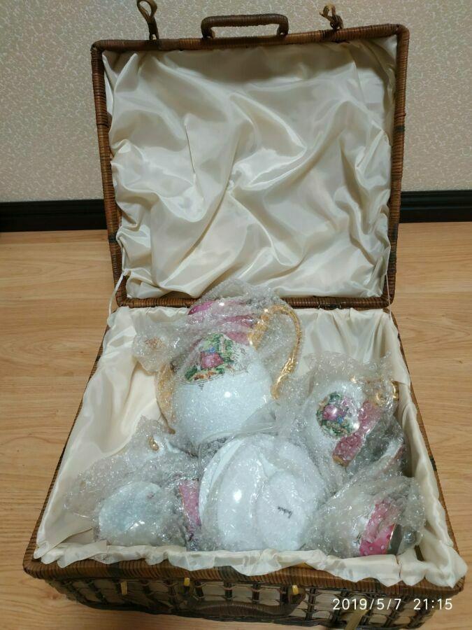 Подарочный чайный набор на 3 персоны в плетеной коробке