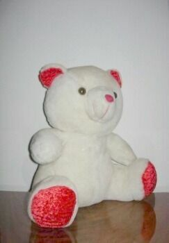 Редкая игрушка. медвежонок с бархатом/ шёлком.