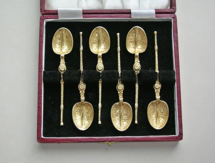 Коронационные ложки 1936-37 год. лондон. серебро. позолота. англия