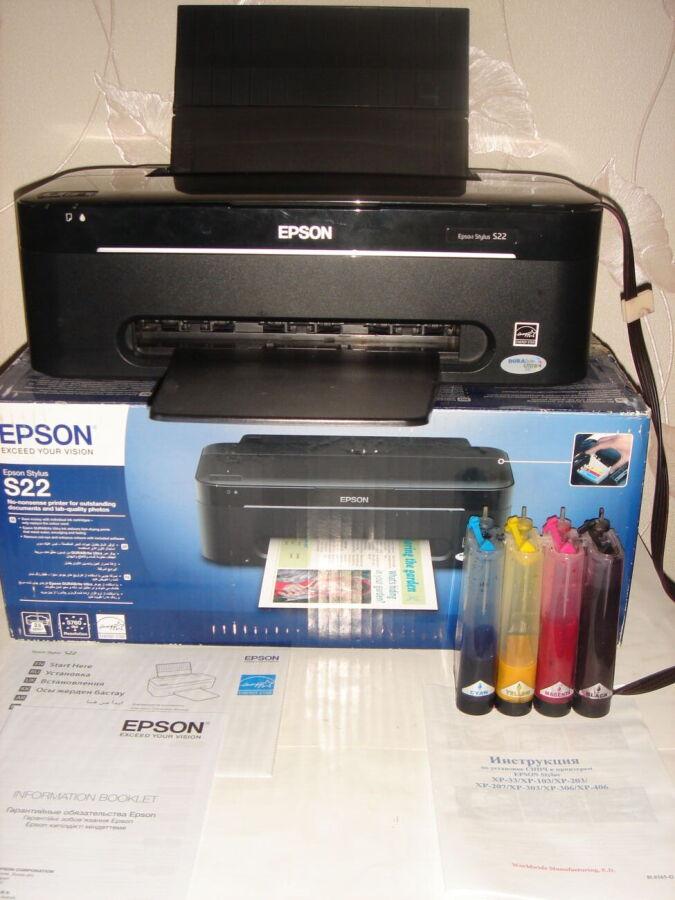 Продам принтер струйный Epson Stylus S22 + снпч.