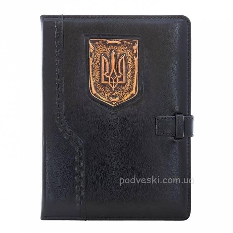 Подарок мужчине - кожаный ежедневник герб украины