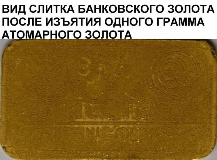 Порошок атомарного золота без межатомных связей с размером 0,288 Nm