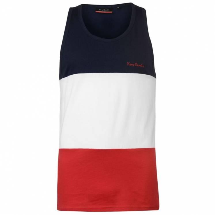 Мужская майка Pierre Cardin Xxl - красно-бело-синяя, красная спинка 10