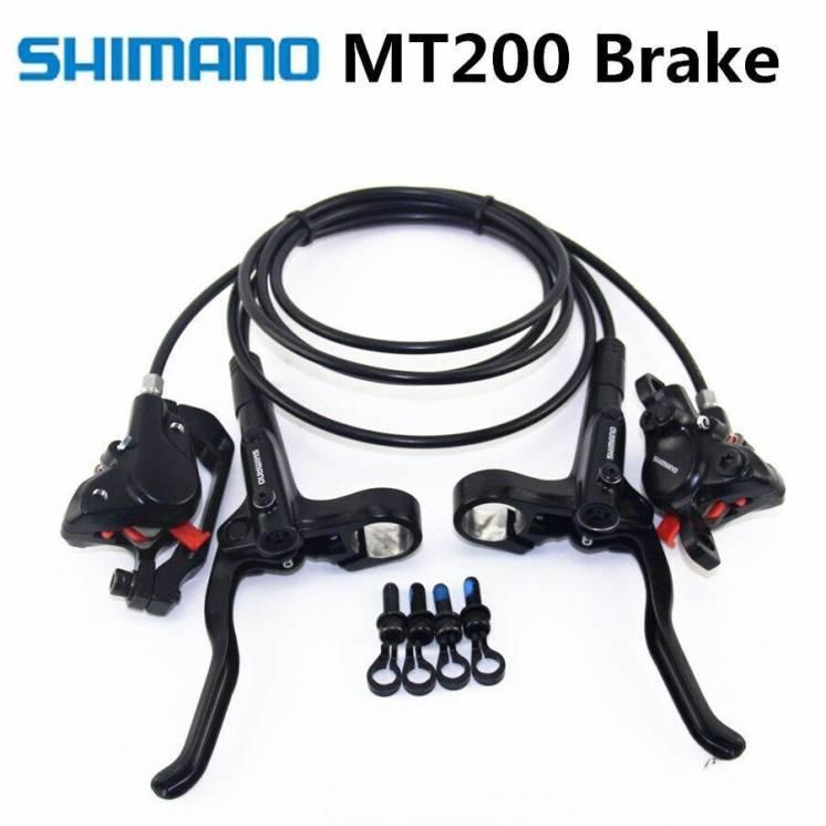 Новые тормоза, Shimano Mt200, комплект перед-зад, 80*155 см гидролинии