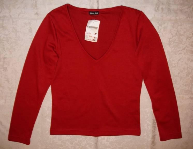 Кофта/светр 42 р., новий, бордовий, довгий рукав, ефектний, для дівчат