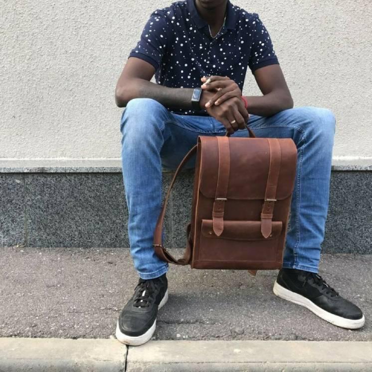 Кожаный мужской рюкзак ручной работы, чоловічий шкіряний наплічник