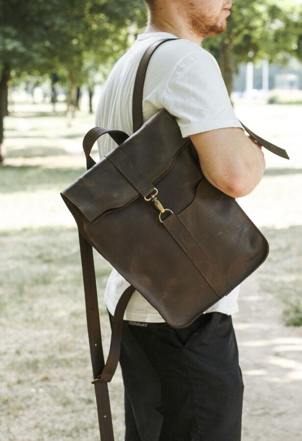 Кожаный мужской рюкзак, чоловічий шкіряний рюкзак, сумка ручной работы