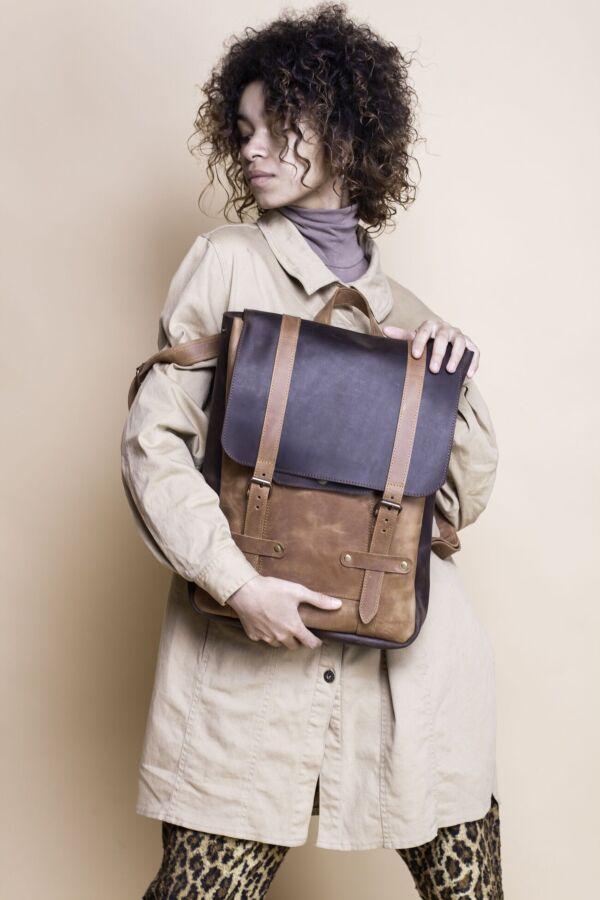 Женский кожаный рюкзак, сумка ручной работы, жіночий шкіряний ранець