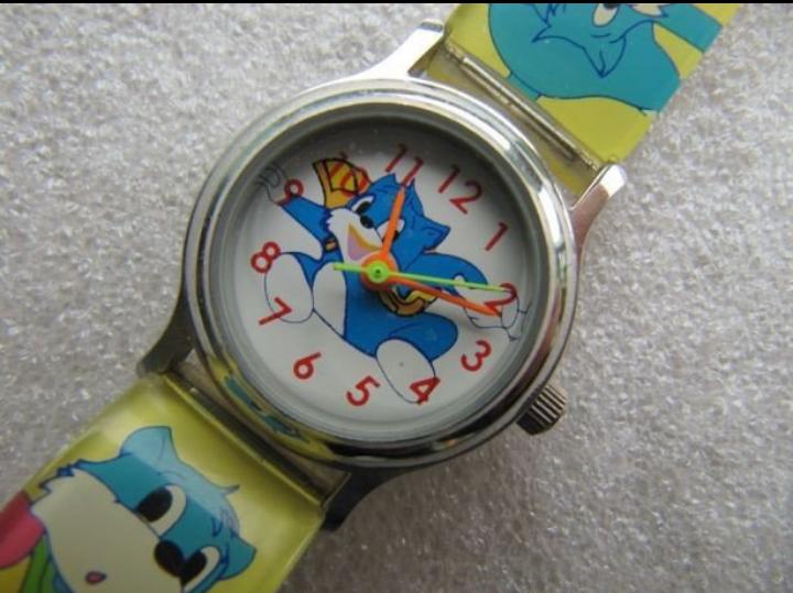 Детские часы Kids Watch с аппликацией голубой кот , кварцевые