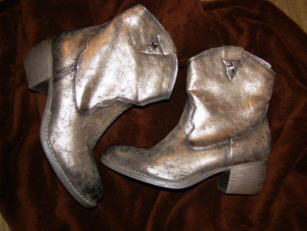 Брендовые короткие сапоги серебристый металлик Graceland, германия