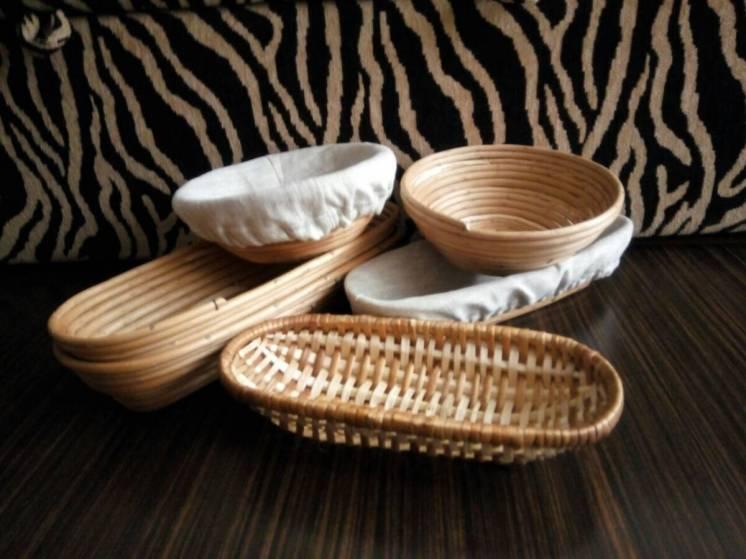 Хлебные формы из лозы. Корзина для расстойки теста