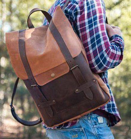 Мужской кожаный рюкзак ручной работы, чоловічий шкіряний наплічник
