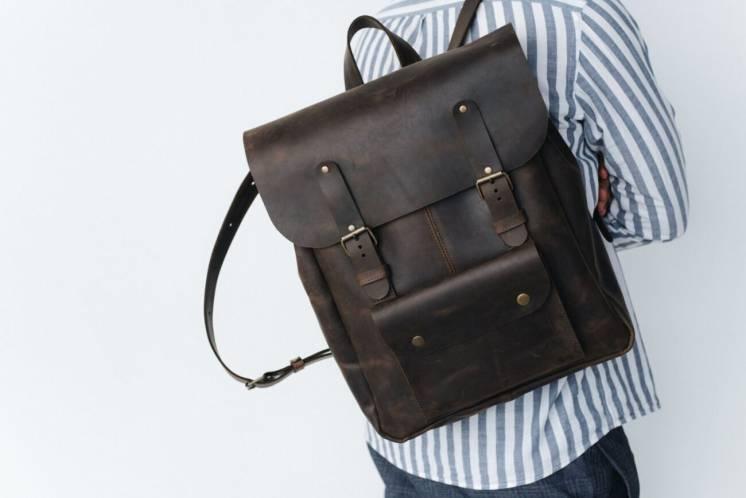 Кожаный мужской рюкзак, чоловічий шкіряний наплічник, удобный портфель