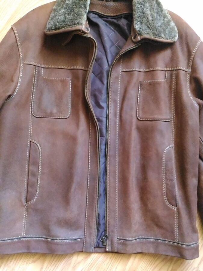 Чоловіча шкіряна дубльонка- куртка