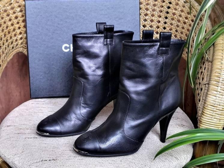 Ботильоны / ботинки Chanel ( Шанель ), оригинал, кожаные, цвет-черный.