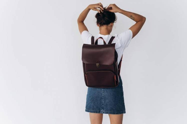 Женский кожаный рюкзак для ноутбука, жіночий шкіряний ранець, сумка!
