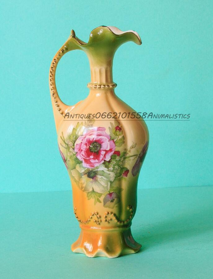 Антиквариат фарфоровая ваза цветы стиль модерн фарфор Xix век