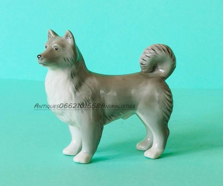 Редкость! фарфоровая статуэтка фарфор собака лайка киев