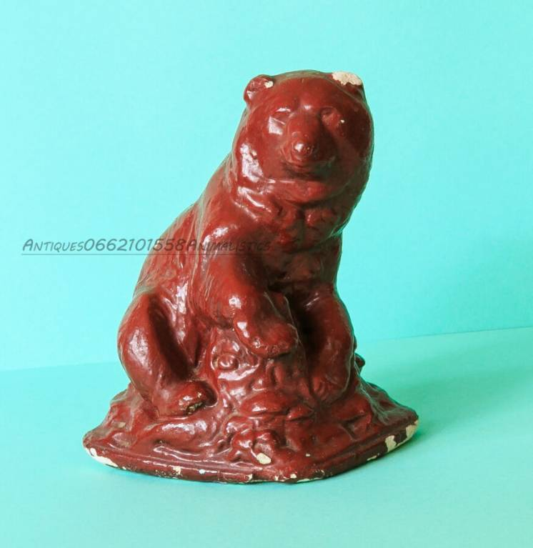 Антиквариат статуэтка медведь гипс