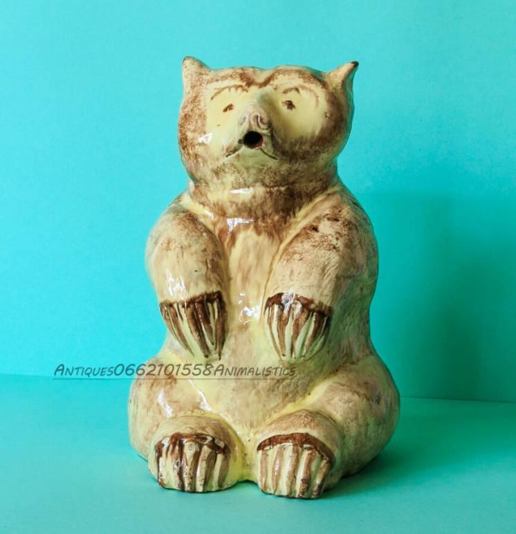 Антиквариат статуэтка медведь майолика примитивное искусство
