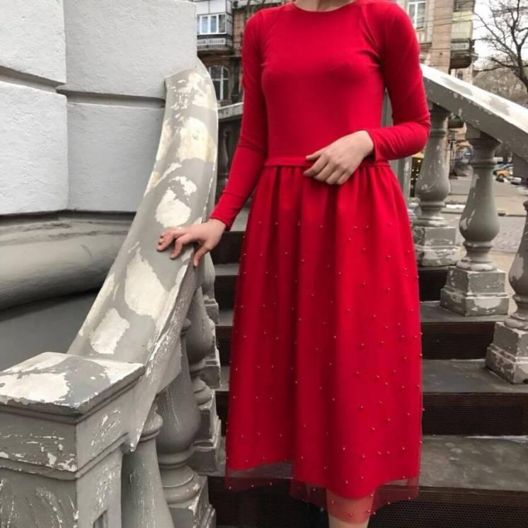 Платье красное, размер s