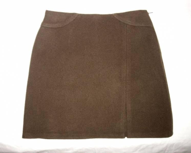 Юбка женская коричневая короткая прямая тёплая осень зима р46 М