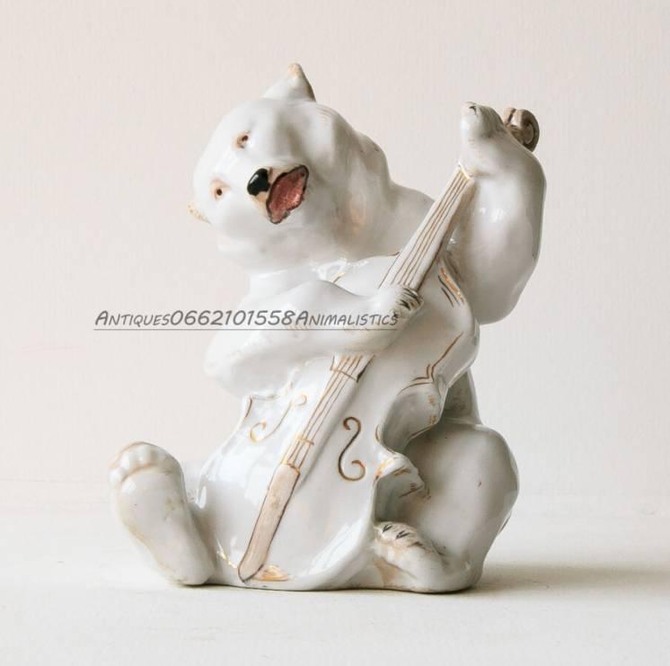 Фарфоровая статуэтка фарфор Медведь с контрабасом Квартет 1949 г ЛФЗ