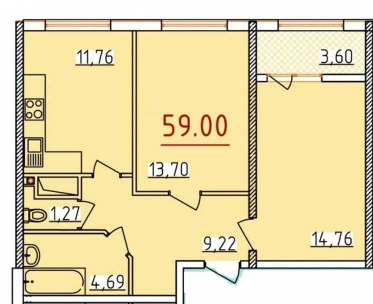 Продается двухкомнатная квартира в новом сданном доме в Центре города.