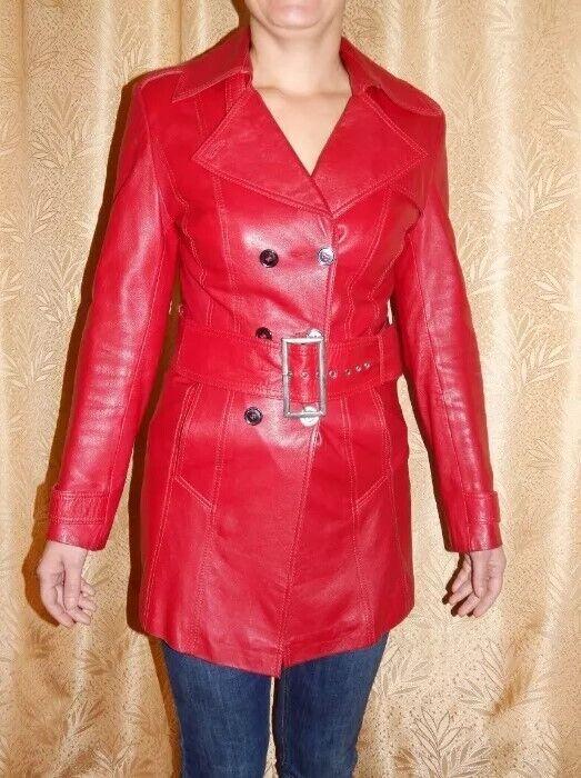 Плащ кожаный красный размер 44
