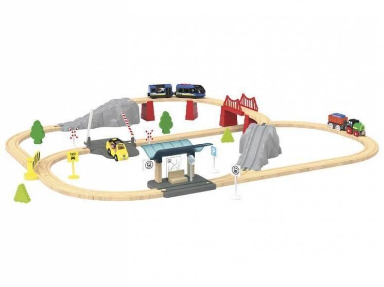 Железная деревянная дорога Playtive 60шт с моторизованным поездом, жд