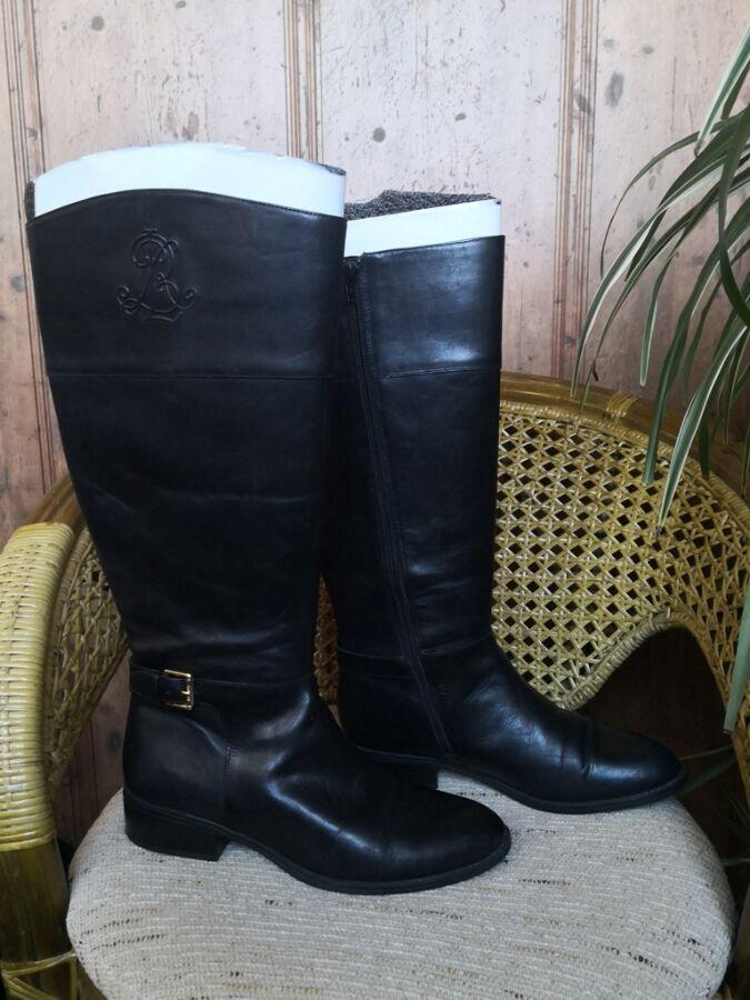 Сапоги Ralph Lauren, оригинал, кожаные, низкий ход, цвет - черный.