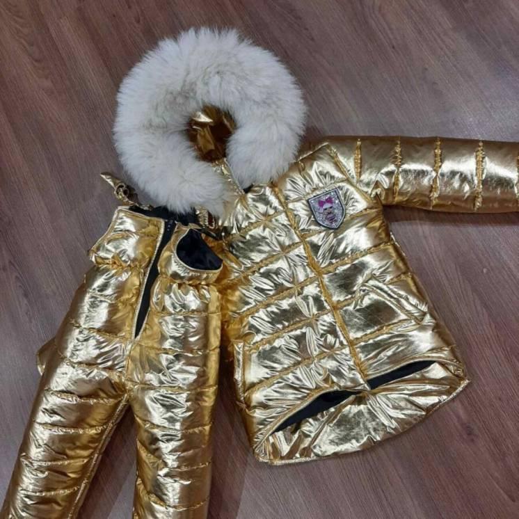 Шикарный зимний комбинезон золотой Лол