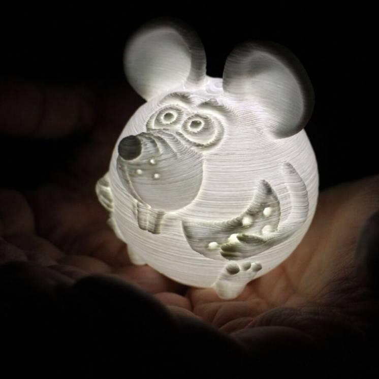 Крыса АЙК ночник фонарик сувенир подарок Новый год зодиак 3D печать