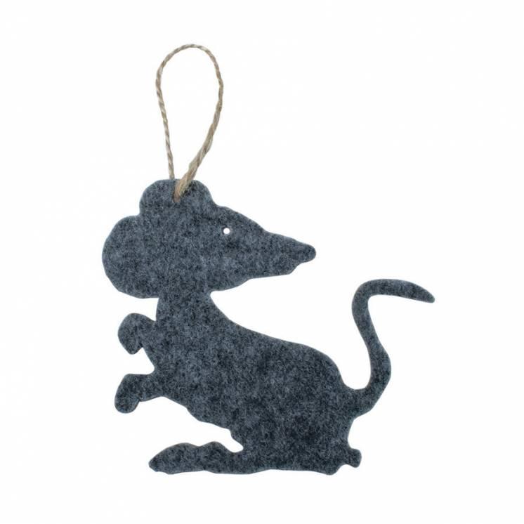 Елочная игрушка из войлока «Мышка»