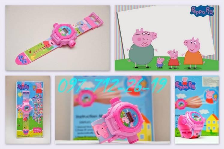 Хит! Супер Часы - проектор Свинка Пеппа и другие. Ассортимент!