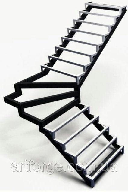 Каркасы лестниц с прямыми, забежными, комбинированными ступениями.